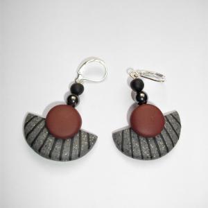 Boucles demi lune (gris et marron) - Vente en ligne de bijoux fimo