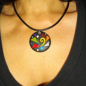 Rendu Porté (rond multicolore) - Vente en ligne de bijoux fimo