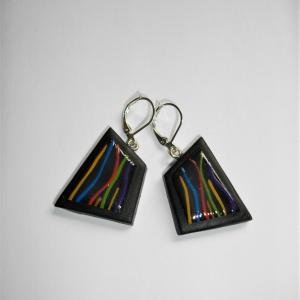 Boucles carré déstructuré (fils multicolores) - Vente en ligne de bijoux fimo