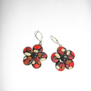 Boucles fleurs (rouge beige et marron) - Vente en ligne de bijoux fimo