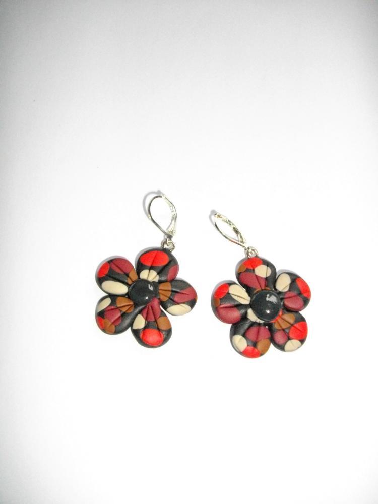 Boucles fleurs rouge beige et marron vente de bijoux for Vente de fleurs en ligne