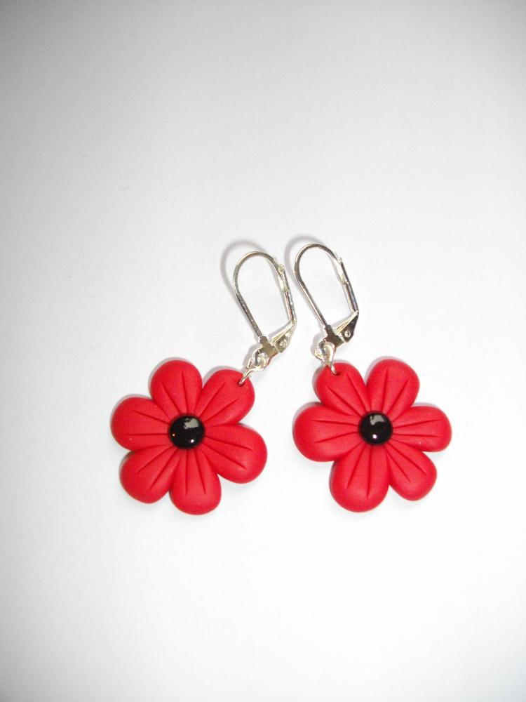 Boucles fleurs rouge vente de bijoux fimo en ligne for Fleurs vente