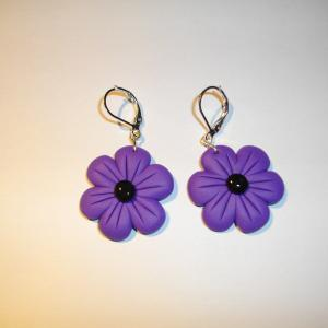 Boucles fleurs (mauve) - Vente en ligne de bijoux fimo