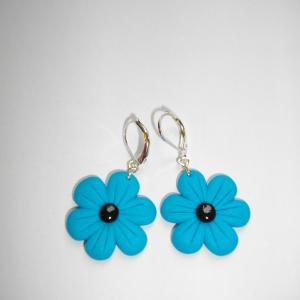 Boucles fleur (turquoise) - Vente en ligne de bijoux fimo