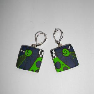Boucles carrées (vert pomme et bleu marine) - Vente en ligne de bijoux fimo