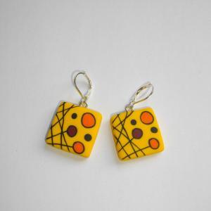 Boucles carrées (jaune) - Vente en ligne de bijoux fimo