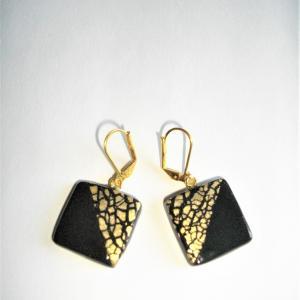 Boucles carrées (moitié doré , noir) - Vente en ligne de bijoux fimo