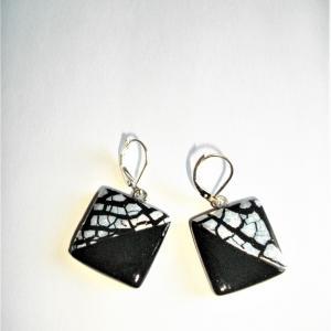 Boucles carrées (moitié argenté, noir) - Vente en ligne de bijoux fimo