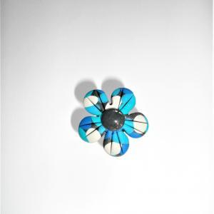 Bague fleur (bleu) - Vente en ligne de bijoux fimo