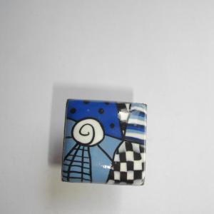 Bague carrée (bleu) - Vente en ligne de bijoux fimo