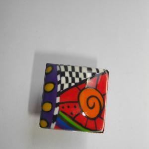 Bague carrée (multicolore) - Vente en ligne de bijoux fimo