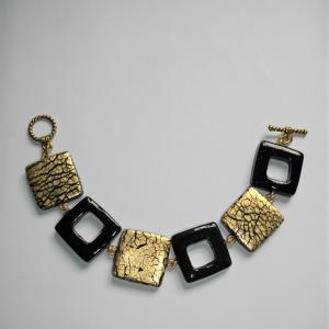 Bracelet (carrés noir et craquelé doré) - Vente en ligne de bijoux fimo