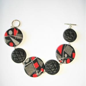 Bracelet (rond miro rouge et gris) - Vente en ligne de bijoux fimo