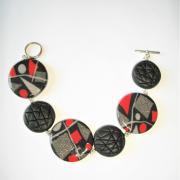 Bracelet (rond miro rouge et gris)