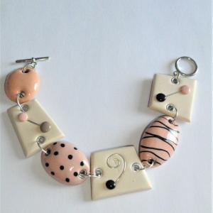 Bracelet déstructuré (beige , rosé) - Vente en ligne de bijoux fimo