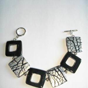 Bracelet (carrés noir et craquelé argenté) - Vente en ligne de bijoux fimo