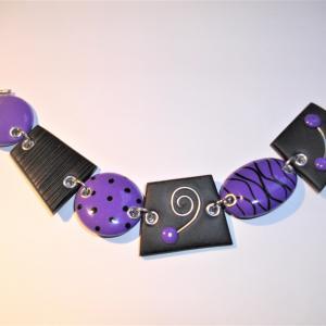 Bracelet déstructuré (mauve) - Vente en ligne de bijoux fimo