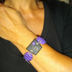 Rendu Porté Bracelet déstructuré (mauve) - Vente en ligne de bijoux fimo