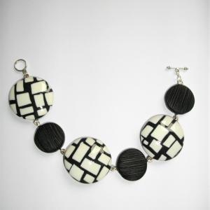 Bracelet rond (mosaique  noir et blanc) - Vente en ligne de bijoux fimo