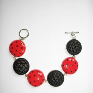 Bracelet avec ronds ( pois rouge et noir) - Vente en ligne de bijoux fimo
