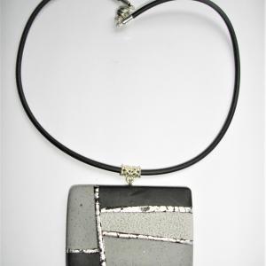 Rectangle (noir , gris et argenté) - Vente en ligne de bijoux fimo