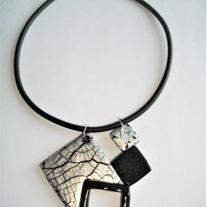4 carrés ( craquelures argentées) - Vente en ligne de bijoux fimo