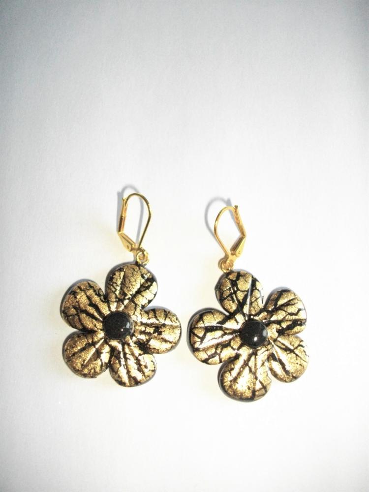 Boucles fleurs dor s vente de bijoux fimo en ligne for Vente de fleurs en ligne