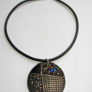 Rond incrustations perles et métal - Vente en ligne de bijoux fimo