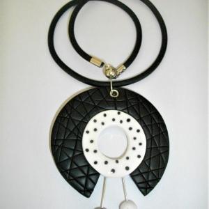 Rond centre ouvert pois noir - Vente en ligne de bijoux fimo