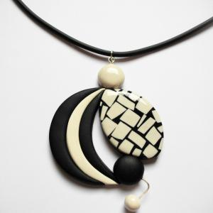 Rond déstructuré (mosaique noir et blanc) - Vente en ligne de bijoux fimo