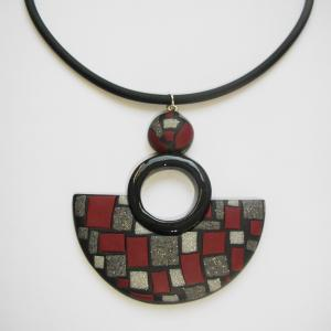Demi lune ( mosaique gris et bordeaux) - Vente en ligne de bijoux fimo