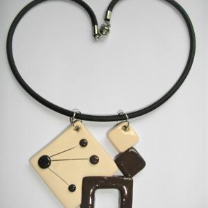 4 carrés classique (marron et blanc cassé) - Vente en ligne de bijoux fimo