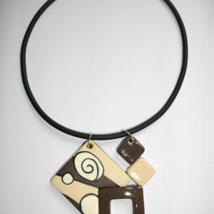 4 carrés ( miro marron et blanc cassé) - Vente en ligne de bijoux fimo