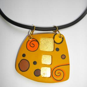 trapèze arrondi (ocre et or) - Vente en ligne de bijoux fimo