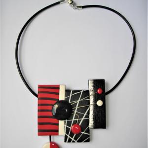 3 rectangles déstructurés (rouge noir et blanc) - Vente en ligne de bijoux fimo