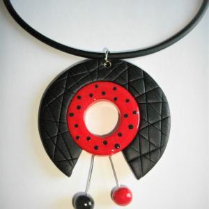 Rond centre ouvert (rouge et noir pois) - Vente en ligne de bijoux fimo