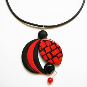 rond déstructuré (mosaïque rouge et noir) - Vente en ligne de bijoux fimo