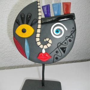 Visage rond (gris pailleté) - Vente en ligne de bijoux fimo