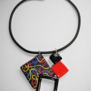 pendentif 4 carrés multicolore 2 - Vente en ligne de bijoux fimo