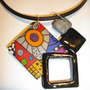 pendentif 4 carrés multicolore 4 - Vente en ligne de bijoux fimo