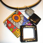 pendentif 4 carrés multicolore 4
