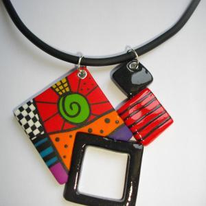 pendentif 4 carrés multicolore 1 - Vente en ligne de bijoux fimo