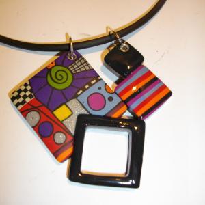 pendentif 4 carrés multicolore 3 - Vente en ligne de bijoux fimo