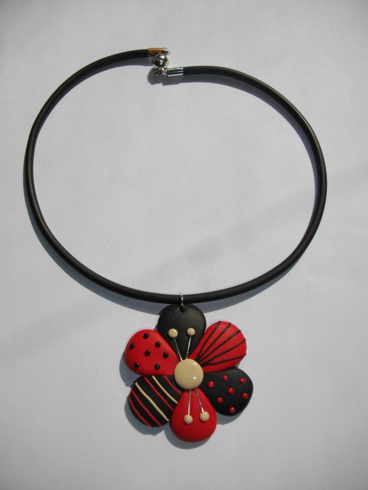 Pendentif fleur rouge vente de bijoux fimo en ligne petit pendentif fl - Bijoux canyon vente en ligne ...